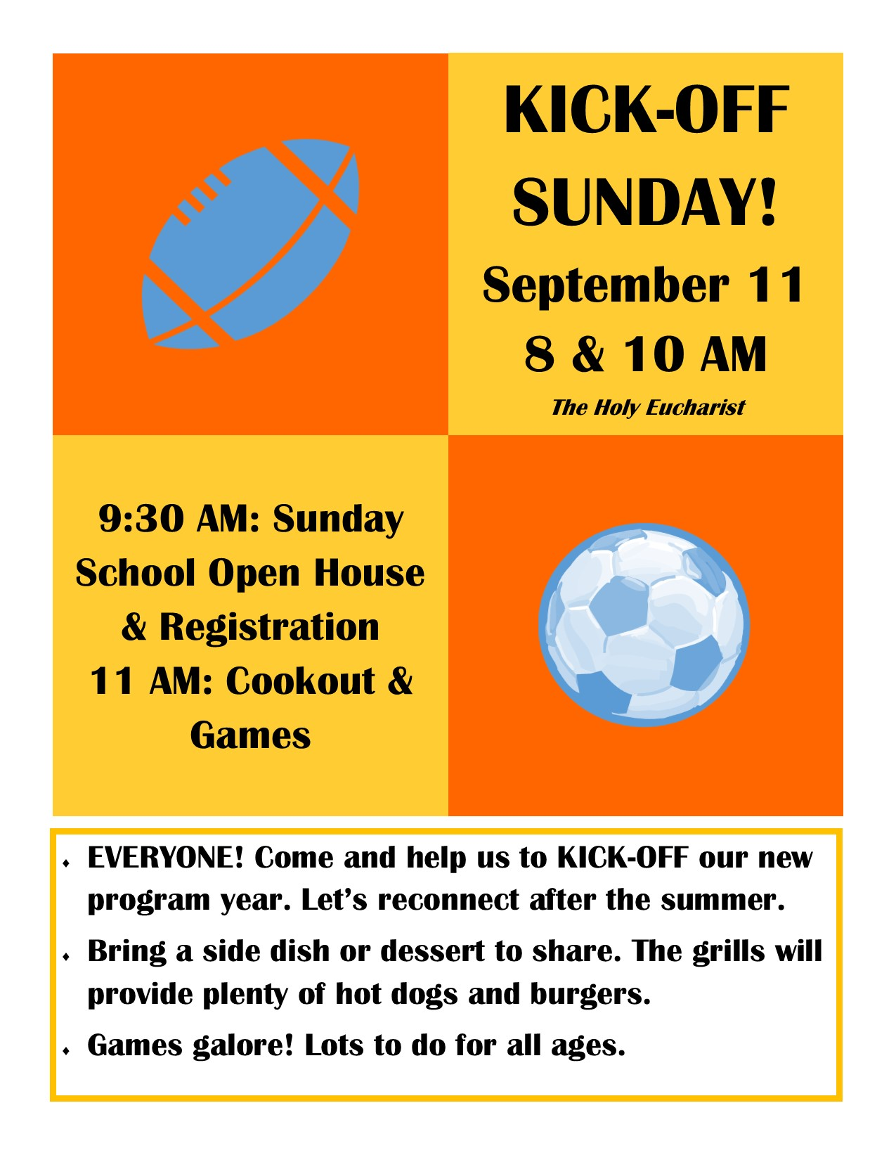Kick-Off Sunday flyer